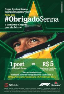 Heineken® convida brasileiros a homenagearem Ayrton Senna nas redes sociais através do uso da hashtag #ObrigadoSenna