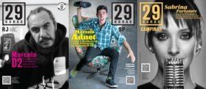 Marcelo D2, Sabrina Parlatore e Marcelo Adnet são capa da Revista 29 Horas